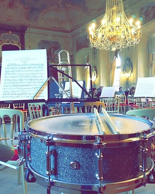 Performing orchestral snare drum with the Southampton University Symphonic wind Orchestra in Prague.