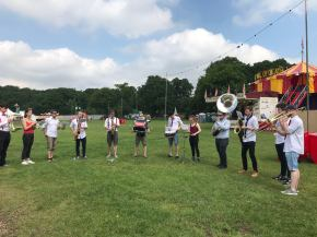 Playing percussion with Saints Brass @ Common People festival 2018.